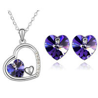 Romantic Purple Hearts Jewellery Set Stud Earrings & Necklace Pendant S367
