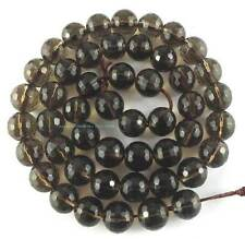 6mm Smoky Quartz Round (128)Faceted Loose Beads 15''