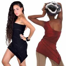 Little Black Red Asymmetric Mini Dress, One Shoulder Dress, Bodycon Boho LBD