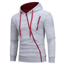 New Plain Mens Hoodie Oblique Fleece Zip Up Jacket Sweatshirt Hooded Coat M-XXXL