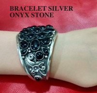 Ancient Antique Victorian Silver Bracelet Bangle Cuff Beautiful Onyx Stones