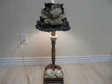 "28"" Adorable HEAVY Table Lamp With Sleeping Rabbit trimmed with Black Shade"