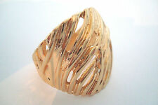 Gold Tone Random Curved Diagonal Lines Style Statement Ring Size U
