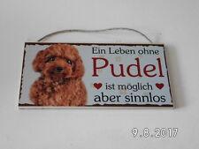 Türschild Pudel, Tierschild Hund aus Holz, Holzschild, deutsche Herstellung
