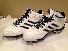 Adidas Baseball Shoe Men New White n Black Stripe Leather Size 9.5M