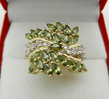 Cocktail 14k Yellow Gold Marquise Peridot Cluster Ladies Wide Ring 5.8 grams