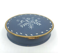 Volupte Powder Compact 1940s Wedgwood Blue Stencil Floral Puff Sifter Vtg
