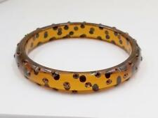 VINTAGE TRANSPARENT AMBER BROWN RHINESTONE LUCITE BANGLE BRACELET EBA93