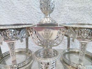 Gorgeous French Empire 950 silver large oil vinegar cruet holder coat of arms