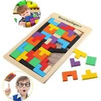 3D Holz Puzzle Jigsaw Kinder-Spielzeug Denkspiel Tetris Bausteine Holzpuzzle