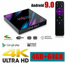 H96 MAX Smart-TV-BOX Android 9.0 4G RAM 64 GB Quad Core 1080p 4K LED-Bildschirm