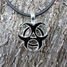 E102 BIOHAZARD SYMBOL PENDANT PEWTER HAZMAT NECKLACE POISON ORNAMENT SIGN TOXIN