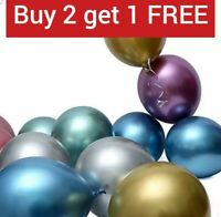 10-100 Pack METALLIC LATEX PEARL CHROME BALLOONS 12 inch Balloon Birthday Party