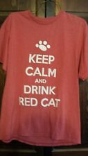 NYS Finger Lakes Wine T Shirt Hazlitt Winery Red Cat Keep Calm Drink Red Cat M