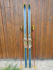 "Beautiful Vintage Wooden 79"" Long Skis with Metal Bindings and Blue Finish"