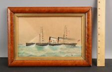 1870 Antique Folk Art Watercolor Painting English Side-Wheeler, Eclair Steamship