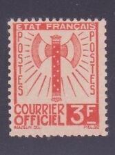 "FRANCE STAMP TIMBRE DE SERVICE N° 10 "" FRANCISQUE 3F ORANGE 1943 "" NEUF xx TTB"