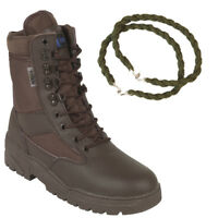BROWN PATROL COMBAT BOOTS LEATHER 50/50 TACTICAL MILITARY WITH TROUSER TWISTS