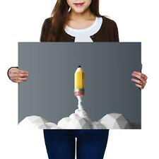 A2 | Rocket Pencil Drawing Design - Size A2 Poster Print Photo Art Gift #8760