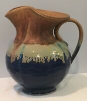 "Studio Art Pottery Pitcher With Cobalt Salt Glaze 11"" Tall Signed by A Ditt 17"