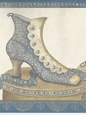 Victorian Ladies Shoes Hatboxes -  Grey Blue - ONLY $6 -  Wallpaper Border B060