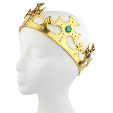 Lux Accessories Gold Tone and Gemstone Halloween Prop Prince Princess Head Crown
