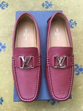 NEW LOUIS VUITTON MENS RED LEATHER MONTE CARLO LOAFERS SHOES UK 8 US 9 EU 42