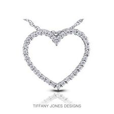 1.20ct tw H-SI2 VG Round AGI Natural Diamonds 14k Gold Heart Shaped Pendant 4.4g