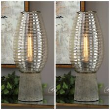 TWO NEW MODERN RIBBED BEEHIVE AMBER GLASS GLOBE TABLE LAMP TAPERED CONCRETE BASE