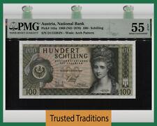 TT PK 145a 1969 AUSTRIA NATIONAL BANK 100 SCHILLING PMG 55EPQ ABOUT UNCIRCULATED
