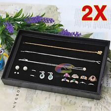 2x Jewelry Ring Rings Display Tray Black Velvet Pad 100 Slot Holder Case Box OZ