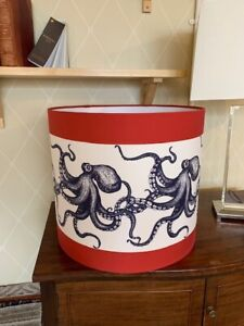 Cream Cornwall Octopus Drum Lampshade in a red and white stripe