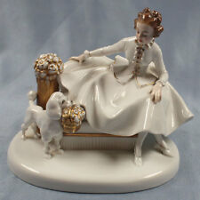 Porzellanfigur pudel Figur Rosenthal dame auf sofa porzellan 1927