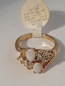NEW 14K GOLD Electroplated Oval Opal and  Rhinestone Ring size 6 with tag