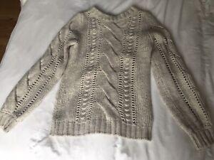 Sisley White Chunky Knit Jumper Size M