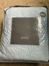 $399! NWT Christian Lacroix Quilted Leaf Blanket KING Soft Microfiber Suede Blue
