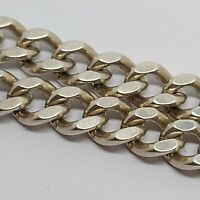 "Sterling silver solid 925 bracelet chain bangle Az969-57 9"" heavy long mens curb"