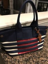 Marc Jacobs Canvas Striped Tote in New Prussian Blue/Ecru
