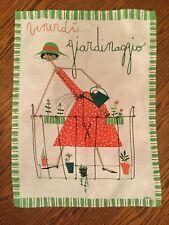 "Vintage Milvia Venerdi Giardinaggio Dishtowel Tapestry Wall Hanging  21""Wx29""L"