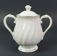 Syracuse Silhouette Wedding Ring Sugar Bowl with Lid White Platinum Trim