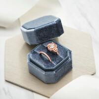 Blue Vintage Inspired Velvet Heirloom Ring Box - Double Slots - Wedding Ring Box