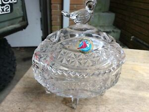 Vintage Hofbauer Crystal Bird Covered 3-Footed Candy Bowl