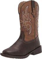 Silver Canyon Childrens Western Cowboy Boot, 12 Little Kid - Dark Brown