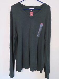 New Men's Merona V-Neck Light Weight Pullover Sweater Dark Green Size XXL 2XL