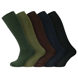 Mens Cushioned Warm LONG Wellington Welly Boot Socks UK 7-12 blk brwn green navy