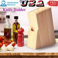 Wood Kitchen Organizer Tool Knife Holder Block Scissor Slot Storage Wooden Rack
