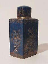 Ancien Flacon Porcelaine Bleue, Doré -  Paris - 1900