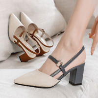 Women Pointed Toe Pumps Shoes Chunky Mid Heels Buckle Strap Fashion Casual Shoes