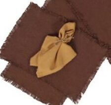 "BURLAP CHOCOLATE 2 pc PLACEMAT SET 12X18"" FRINGED COTTON WOVEN INTO BURLAP"