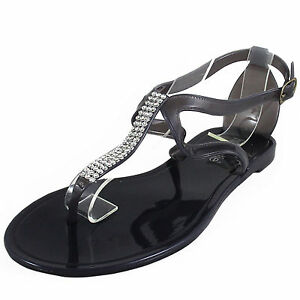 New women's shoes fashion jelly sandals t strap open toe casual summer black